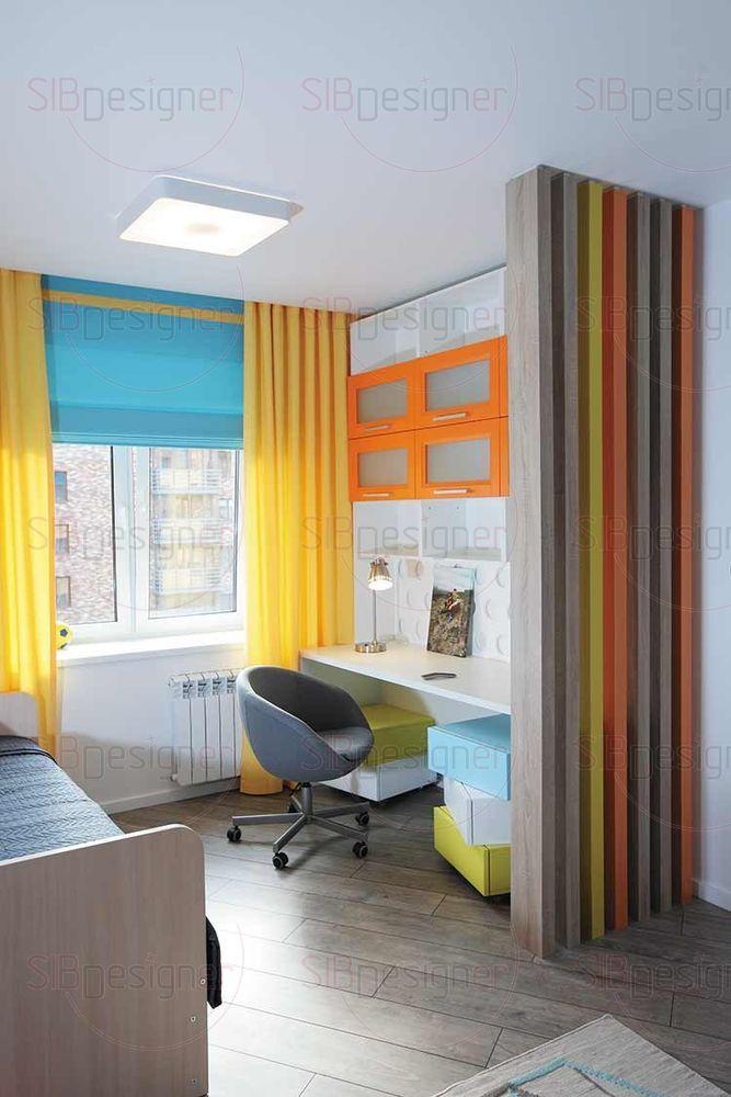 Детская комната отличается своими яркими акцентами.