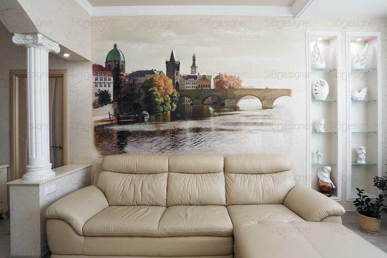Гостиную украшает панно с видом на Влтаву и Карлов мост в Праге.