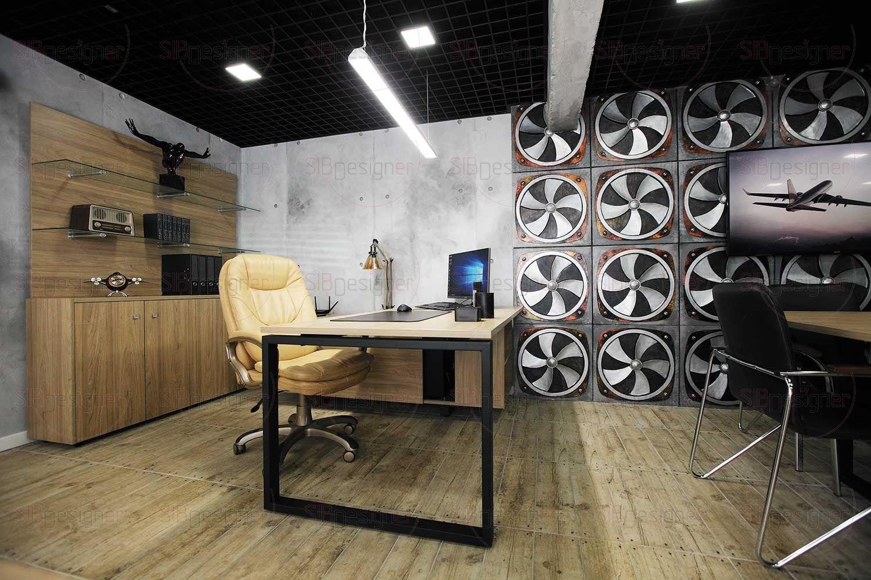 Стены офиса покрыты декоративной штукатуркой, имитирующей бетонные плиты.