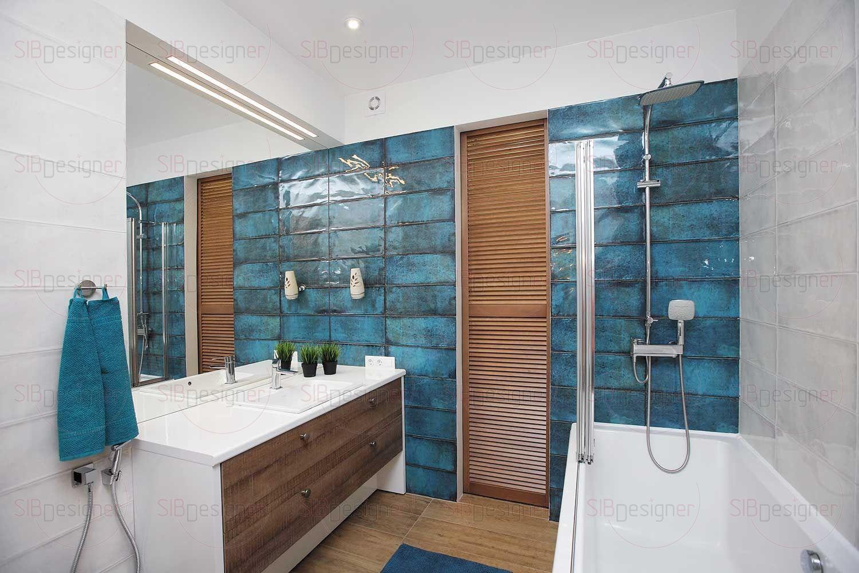 Ванная комната имела вытянутую форму параллелепипеда. Дизайнер решила нивелировать ощущение узкого пространства.
