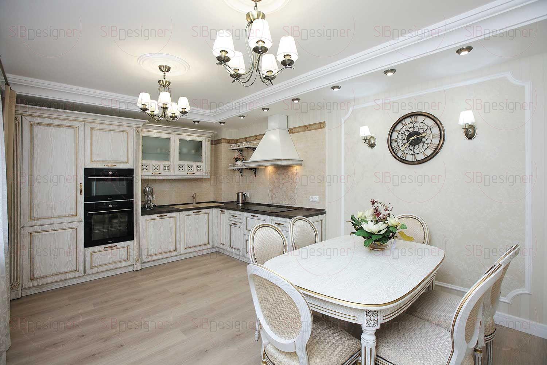 У заказчиков было пожелание совместить кухню со столовой, благо площадь помещения.