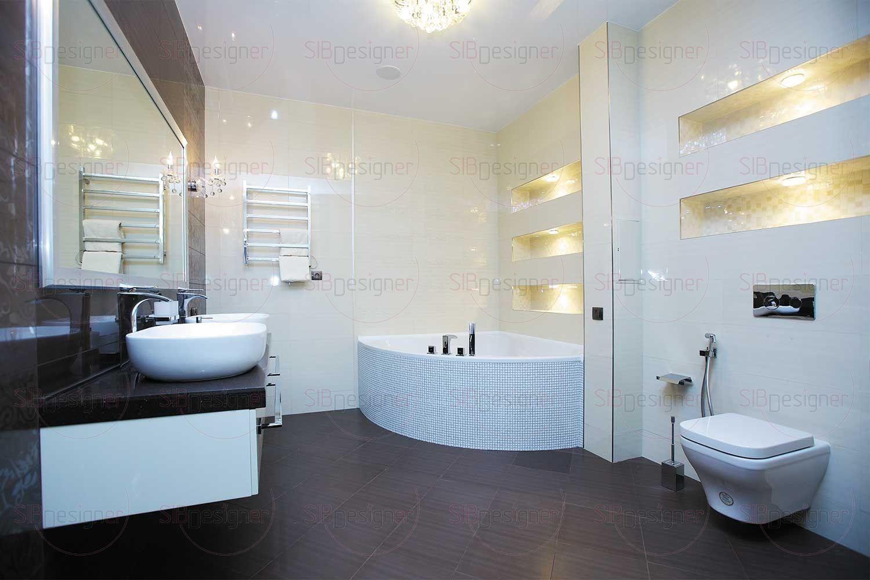 В стенах оборудованы ниши с подсветкой, которые помимо декоративной функции могут использоваться в качестве полок для косметики.