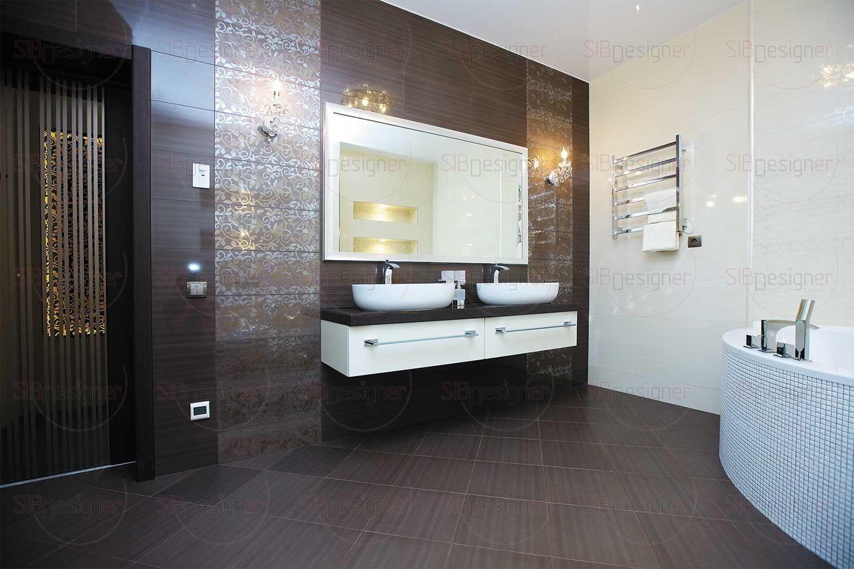 Впечатление сдержанной роскоши усиливает интерьер ванной, выполненной в дорогих сливочно-кофейных тонах. Ванная вышла просторной.