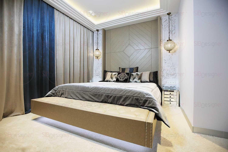 Прикроватные тумбы в зеркальной отделке – это и дань стилю ар-деко, и продолжение иллюзорности, невидимости, которая устойчиво прослеживается в дизайне квартиры.