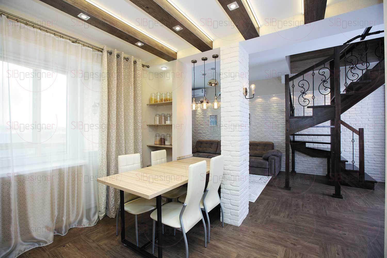 Красота и функциональность – вот основные характеристики дизайна кухни, выполненного в эклектичном стиле с гармонично сочетающимися элементами скандинавского, экостиля и шале.