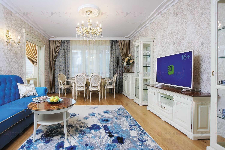За освещение гостиной и ее нарядный облик отвечают роскошная итальянская хрустальная потолочная люстра и светильники-бра в классическом стиле над диваном.