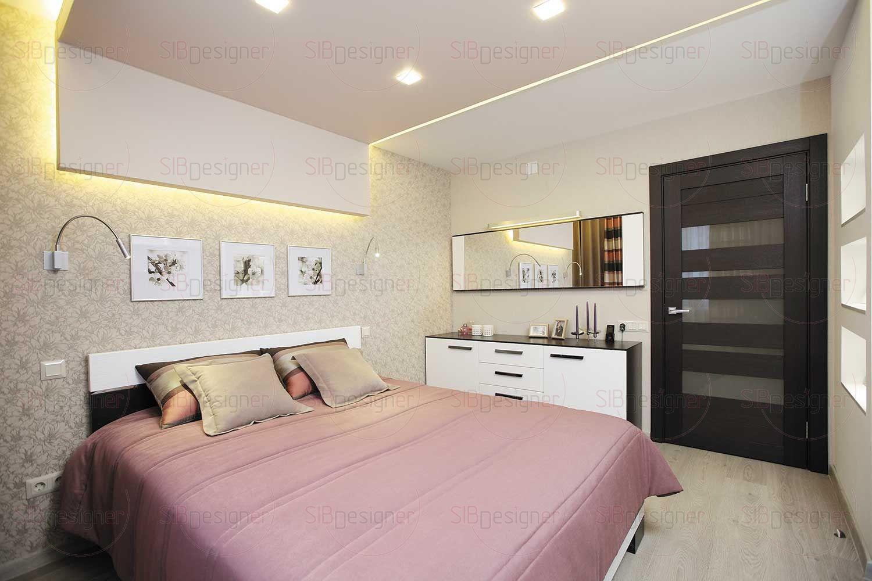 Большое горизонтальное зеркало с подсветкой – стильный и необходимый элемент хорошей спальни.