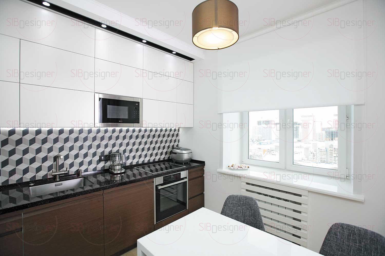 Фартук из плитки с 3D-рисунком – своеобразная граница между светлым «верхом» и темным «низом» кухонного гарнитура.
