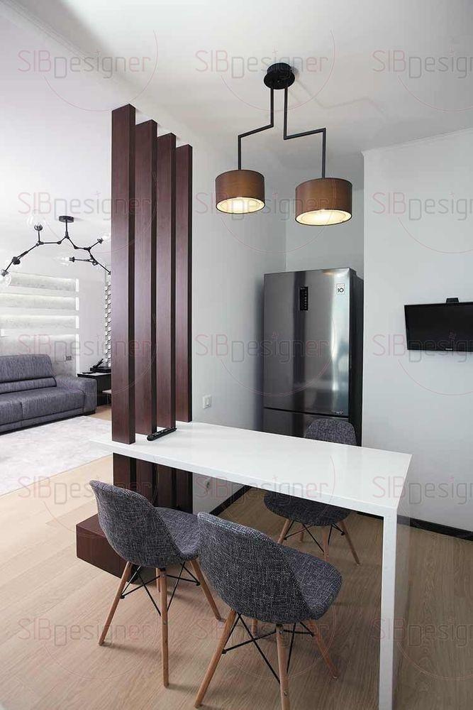Потолочный светильник с двумя тканевыми плафонами под цвет фасадов кухонной мебели.
