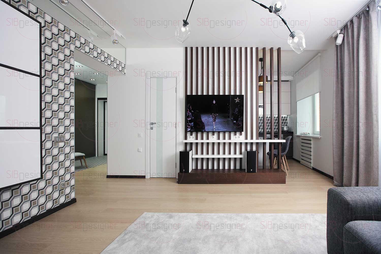 Аудиовидеосистема расположена в углу гостиной в специальных стойках. Благодаря мультирумному решению музыку можно слушать как в самой гостиной, так и в спальне и ванной.