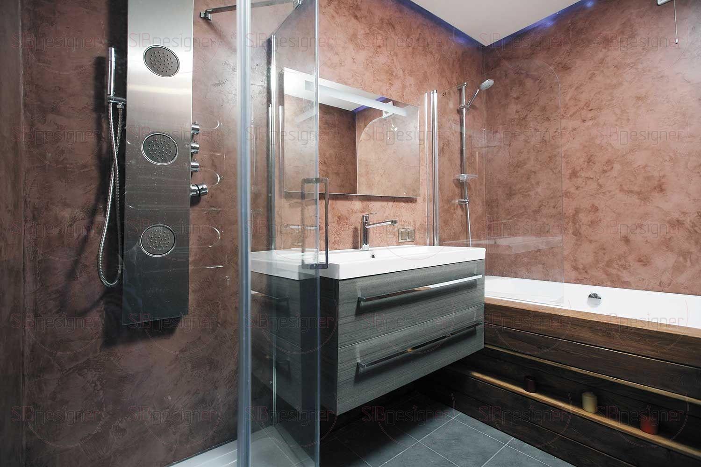 Для ванной комнаты было выбрано современное решение в виде отделки стен микробетоном. Этот материал известен своей высокой влагостойкостью, в Европе им оформляют даже чаши бассейнов.
