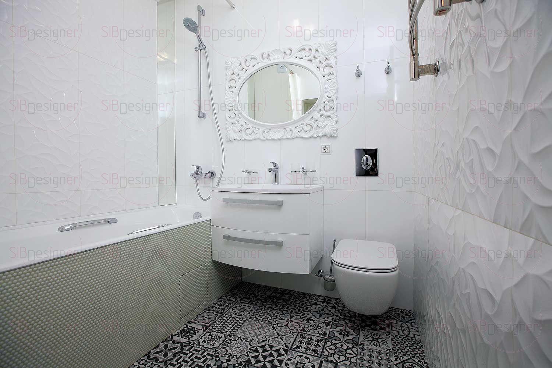 Ванная комната хоть и достаточно компактная, но воздушная и светлая.