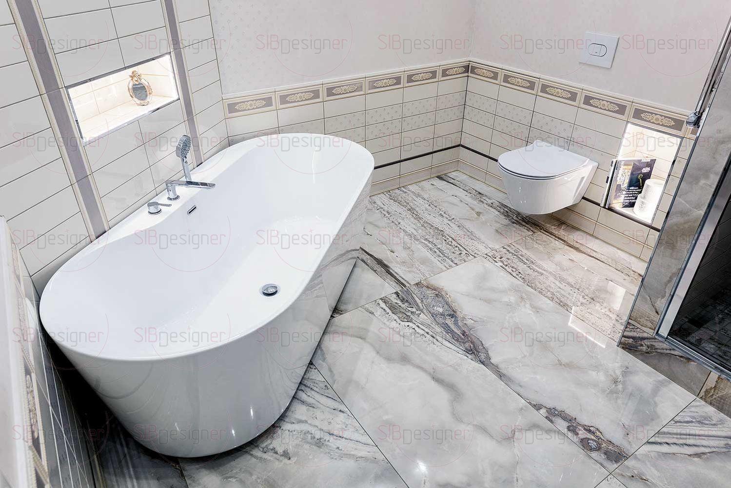 Часть стен в ванной комнате покрыта декоративной штукатуркой, для дополнительного уюта.