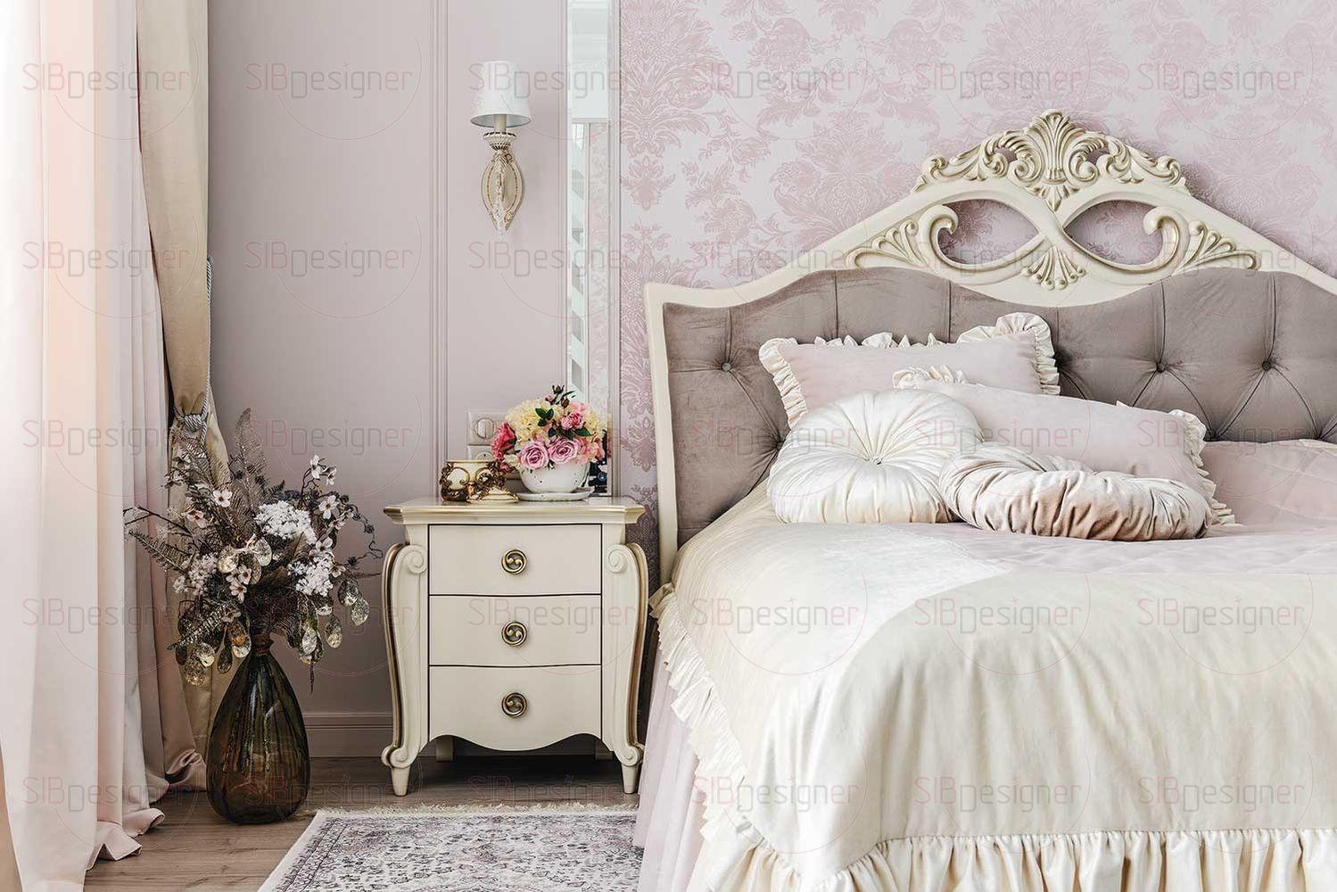 В спальне супругов обилие декора, мебели с достаточно пышными узорами, что делает эту комнату самой классической по сравнению с остальным пространством.