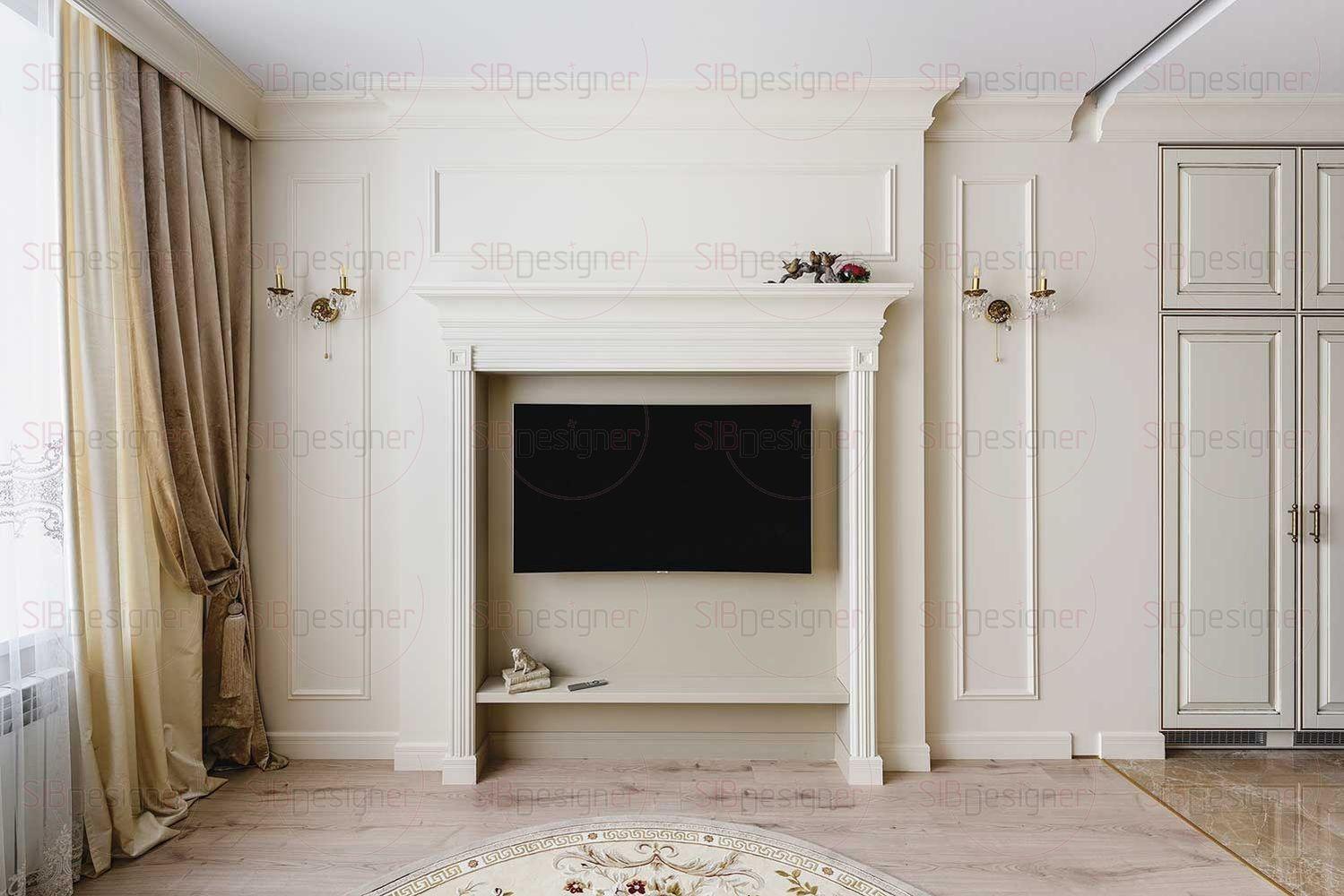 Зона ТВ оформлена багетом с простыми и четкими линиями.