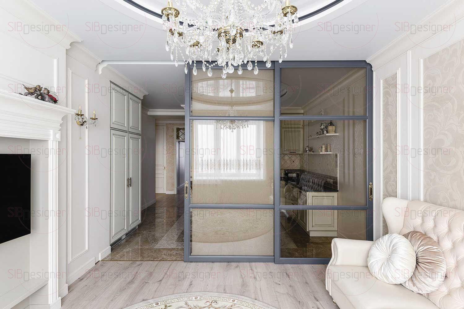 Одна большая комната поделена на зону кухни и гостиной. Их разделяет перегородка с панелями из матового стекла.