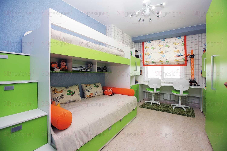Детская комната предназначалась для двух мальчиков. Развести зоны для игр и для сна было первостепенной задачей. При этом стояла необходимость расположить две полноценные кровати.