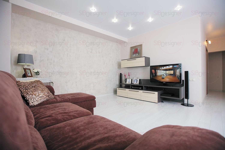 Небольшая система хранения с подвесными и напольными тумбами напротив дивана используется в качестве основы для медиазоны – на ней разместились телевизор, аудио- и видеоаппаратура.