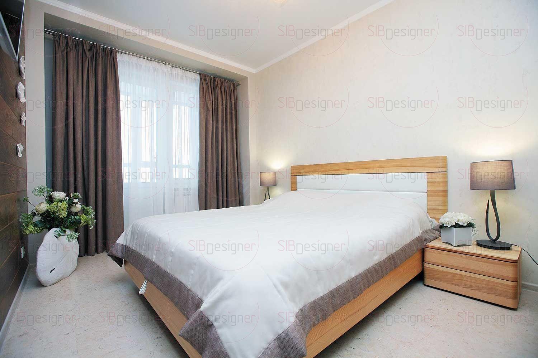 Спальня выполнена в эко-стилистике.
