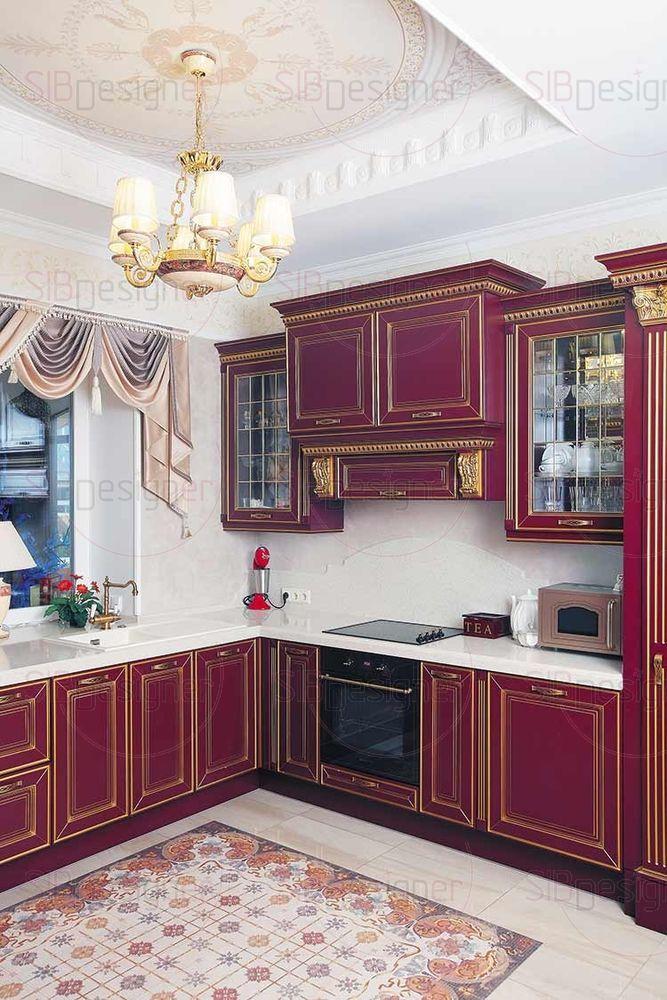 Пол кухни украшает керамический ковер, в котором соединяются все основные оттенки интерьера этого пространства.