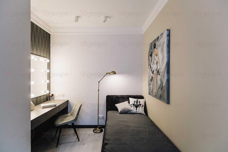Для девочки-подростка были спроектированы кровать и туалетный столик. Эта часть комнаты выполнена в серых оттенках.