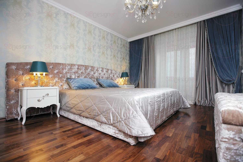 В спальне супругов на смену четким контрастам остальных комнат приходит нежная гамма обволакивающих цветов и мягкие текстуры.