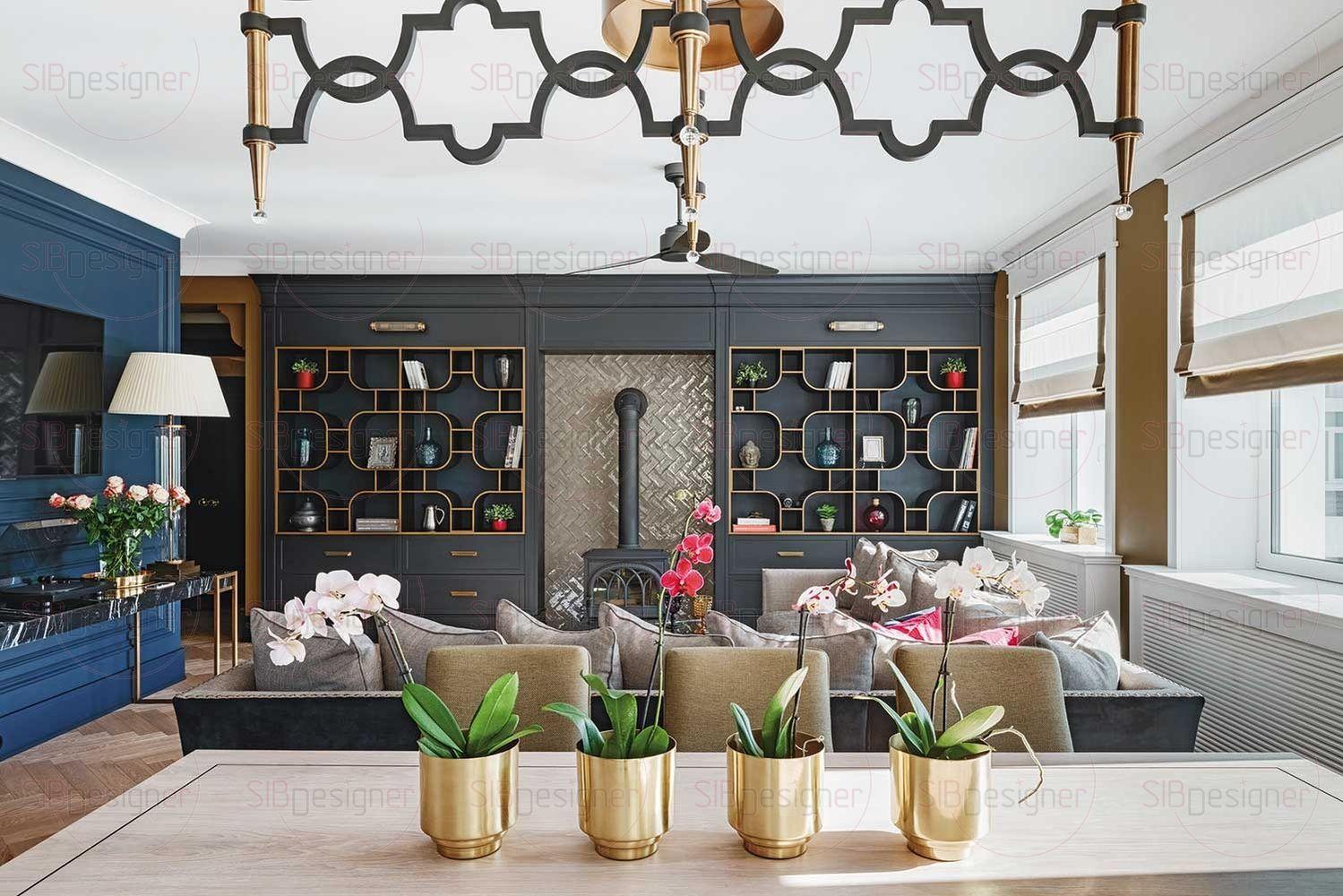 Обширная гостиная плавно переходит в светлую кухню. Столешница кухонных шкафов выполнена из натурального камня.