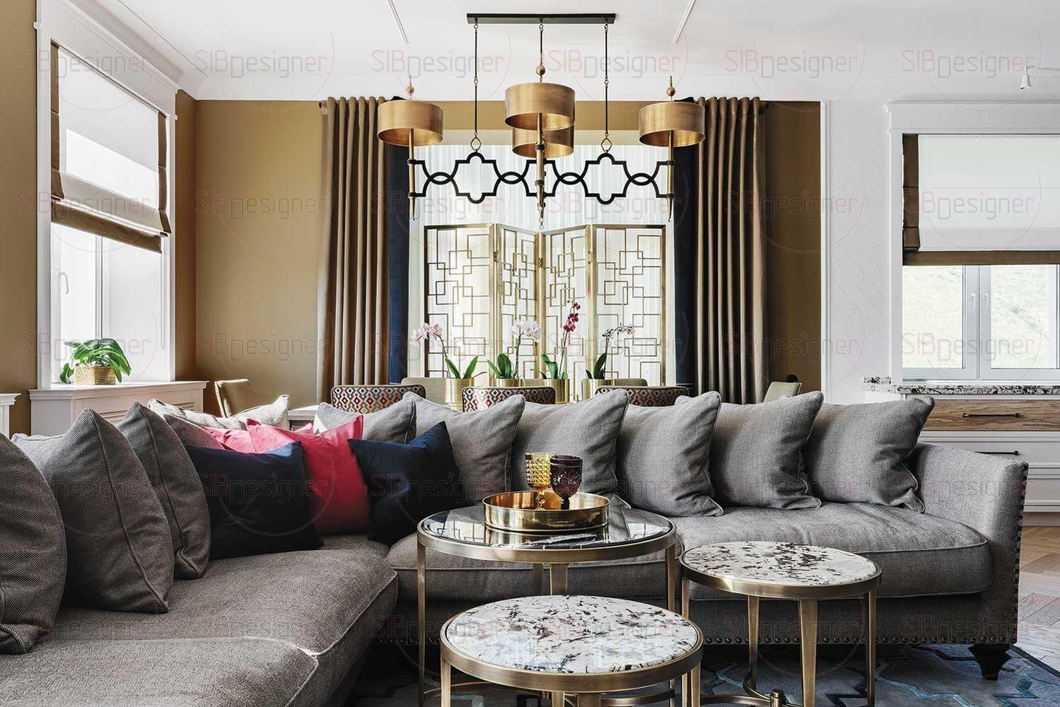 Концепция гостиной, по словам Юлии, получила свое начало с люстры. Ее стиль, форма и материал стали отправной точкой для развития целого интерьерного образа.