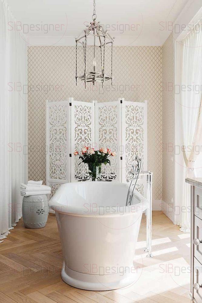В женском санузле ванна стоит посреди комнаты, пространство наполняют плавные изгибы, на полу дерево. Все это отсылает нас к французским традициям с их неповторимым шиком.