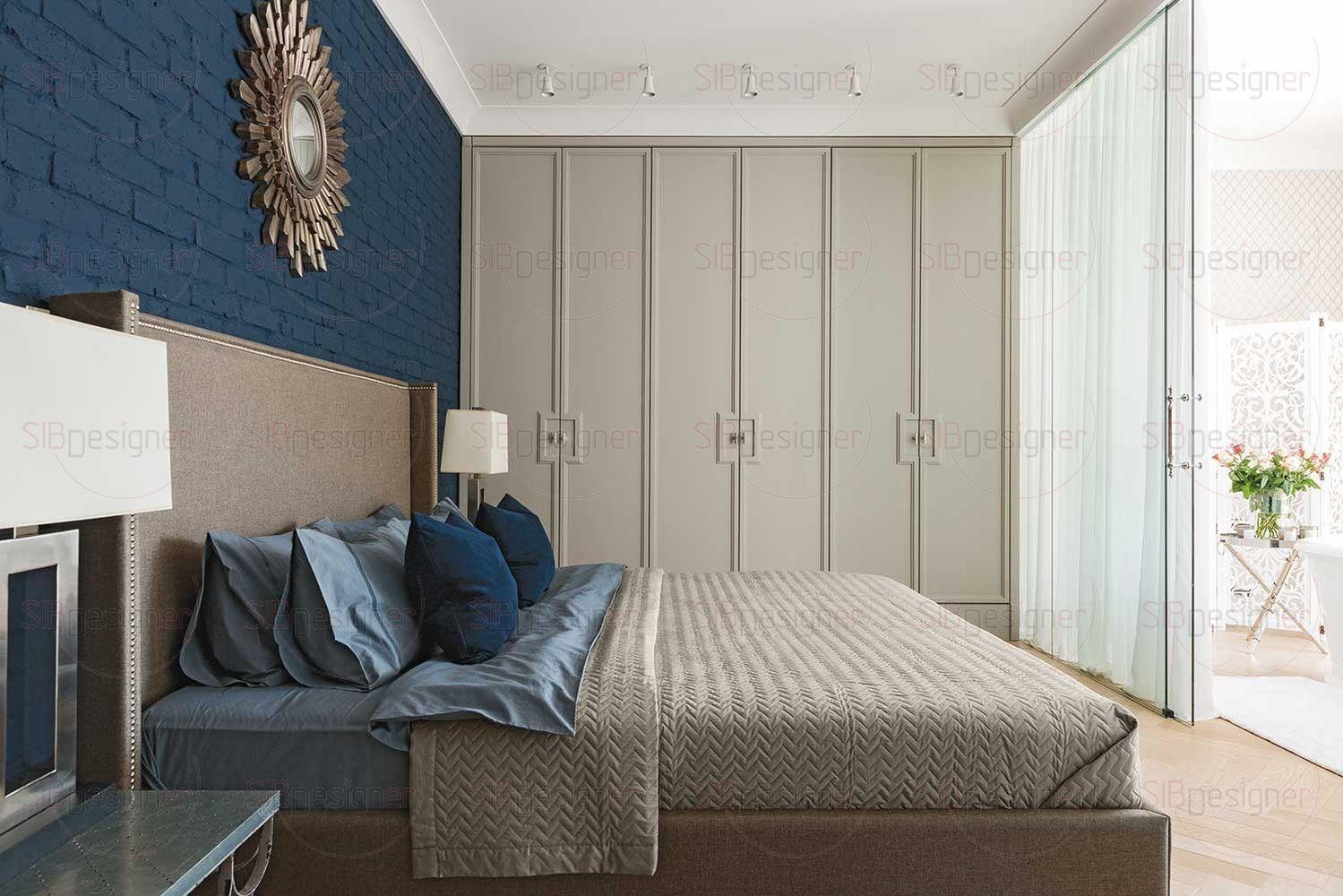 Со стороны подножья широкой кровати находятся раздвижные стеклянные двери, спрятанные под светлым тюлем и ведущие в женскую ванную комнату.