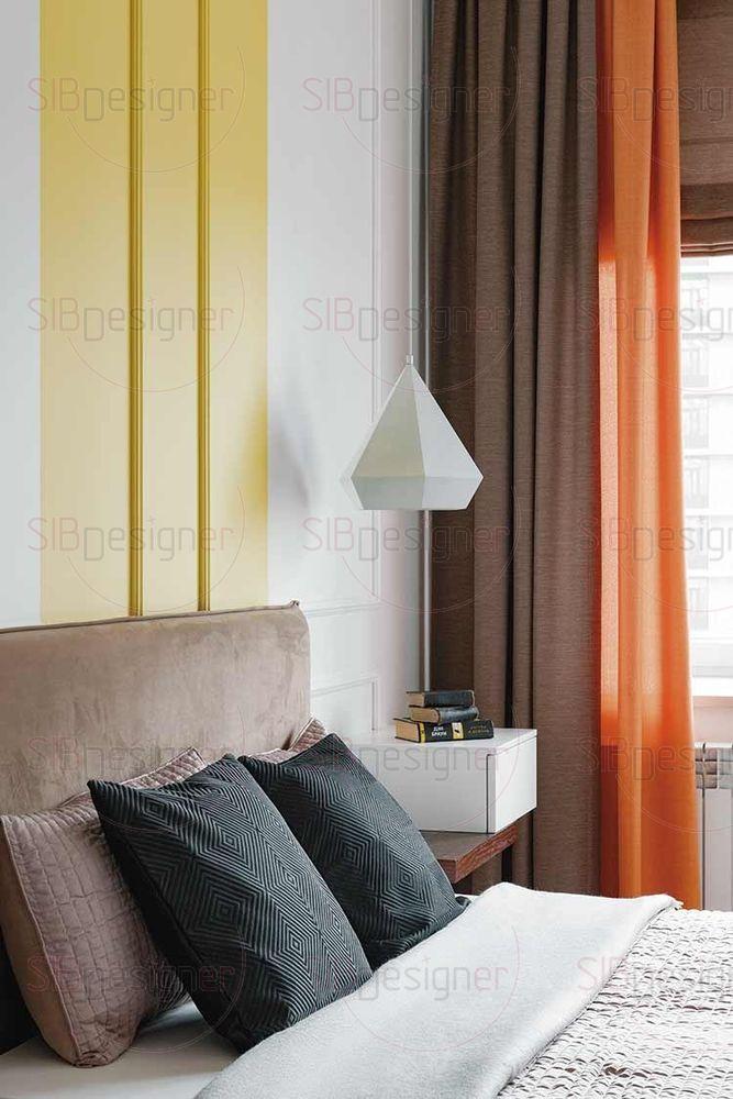 В спальне родителей легкий растительный мотив можно уловить в торшерах, стоящих на прикроватных тумбах.