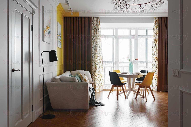 Гостиная соединена с кухней, которая расположена в противоположной части комнаты – напротив окна
