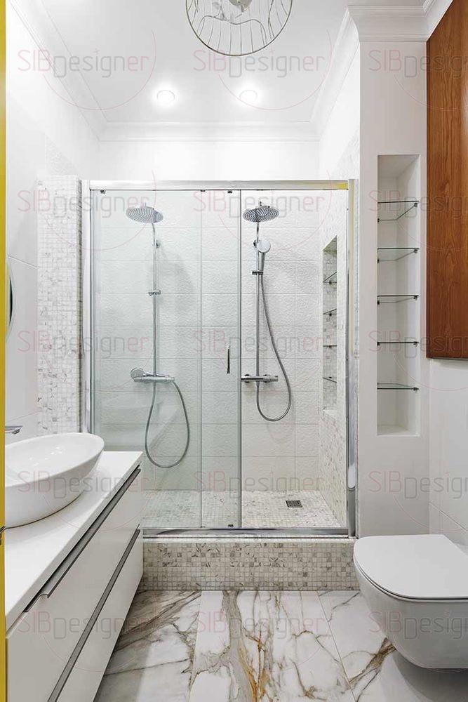 Ванная комната оборудована двумя душевыми стойками.