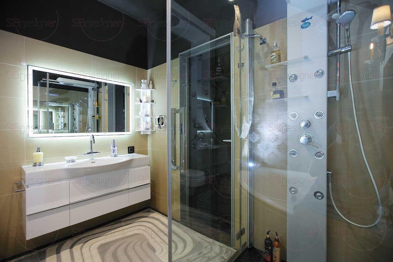 В ванной комнате сохранили отделку керамической плиткой– ее оттенки и текстура до сих пор сохраняют актуальность.