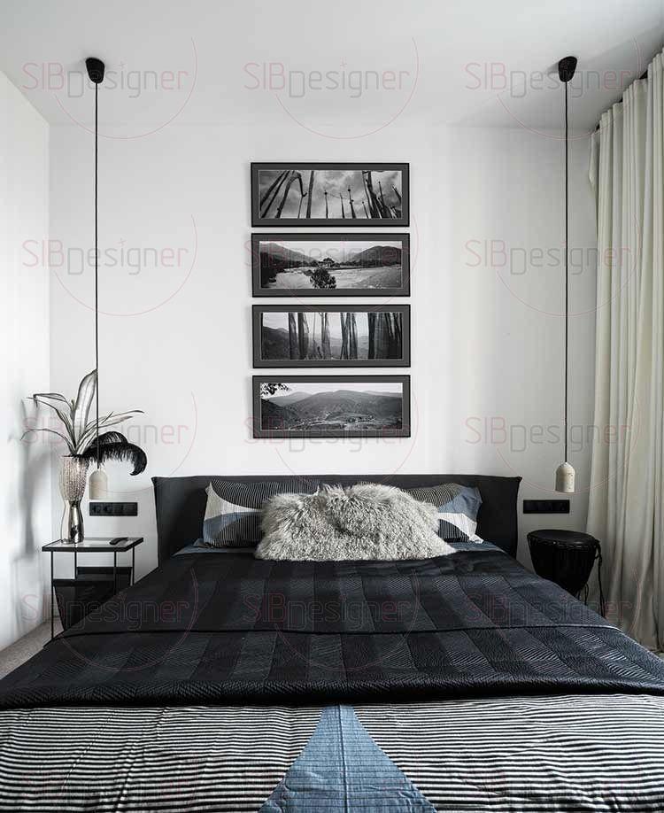 В спальне дизайнер сложила триптих из фотографий, сделанных швейцарским фотографом в Тибете. Они завершают композицию спальни, неся энергию умиротворения, расслабления, тишины.