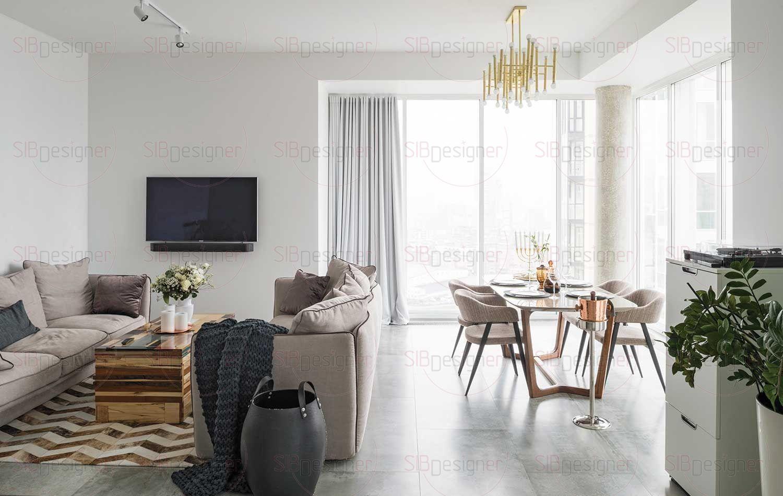 Покупка этой квартиры на 21 этаже площадью 86 квадратных метров была мечтой для заказчицы Натальи. Самое главное, что ее привлекло здесь, – шикарный вид из окон, вокруг него и «строился» весь интерьер.