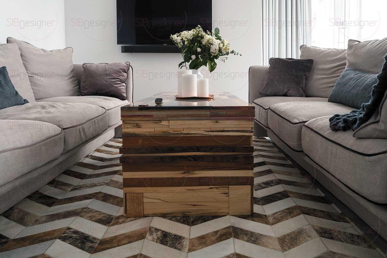 Ковер в гостиной натуральный, ручной работы, невероятно теплый и активный за счет орнамента «шеврон».