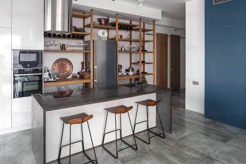 Кухонный остров контрастирует своим основательным и весомым видом с легким открытым стеллажом.