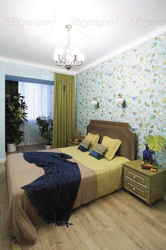 Спальня была объединена с лоджией, благодаря чему увеличилось пространство, появилась уютная зеленая зона и шкаф, встроенный в нишу.