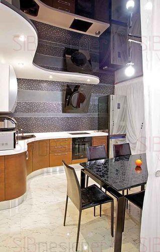 необычная форма кухонного гарнитура