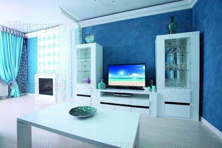 Контраст синего и белого в гостиной