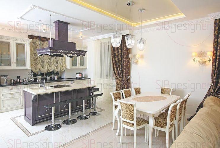 гостиная и кухня в стиле итальянская классика