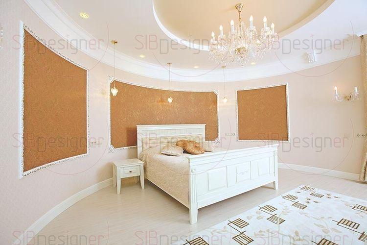 спальня с круглой стеной