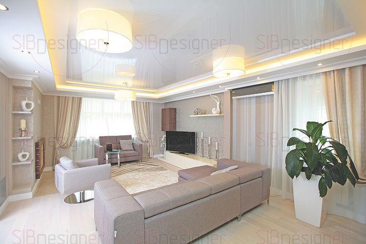 Первый этаж – прихожая, столовая и кухня – решен в светло-серых тонах.