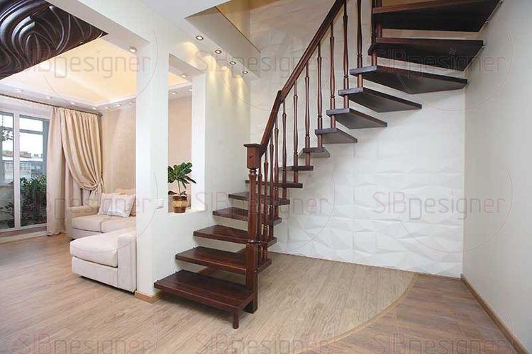 Оформление стены у лестницы