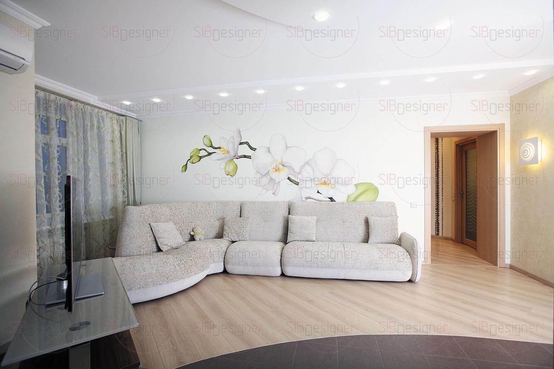 Белая орхидея на стене