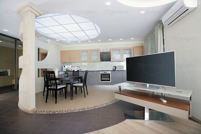 Гостиная объединенная с зоной кухни