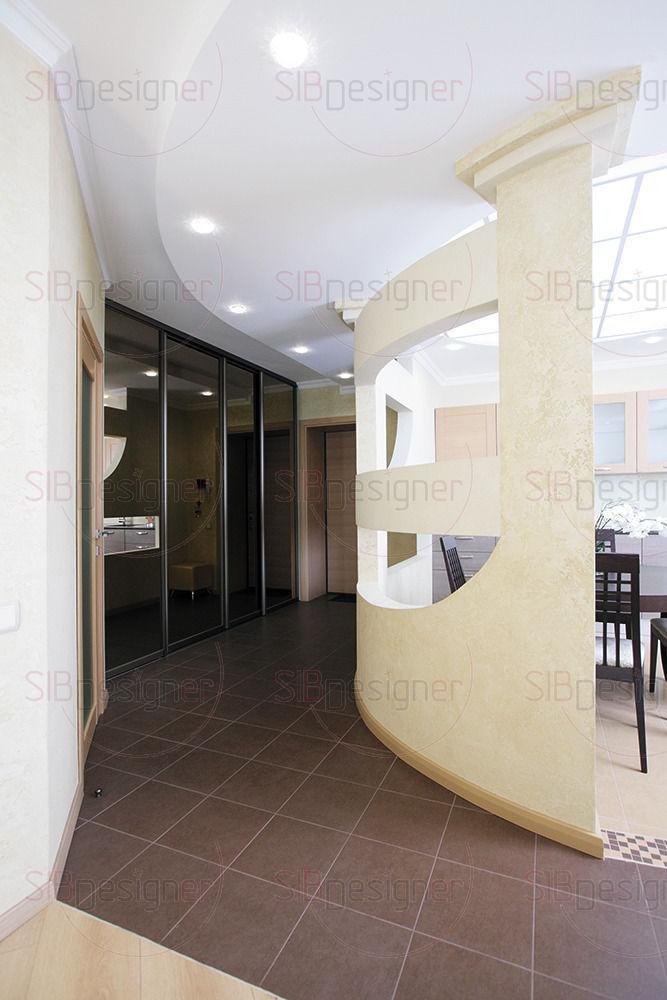 Перегородка разделяющая зону гостиной и кухню