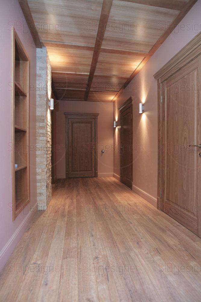 Между коридором и гостиной оформлены сквозные ниши.