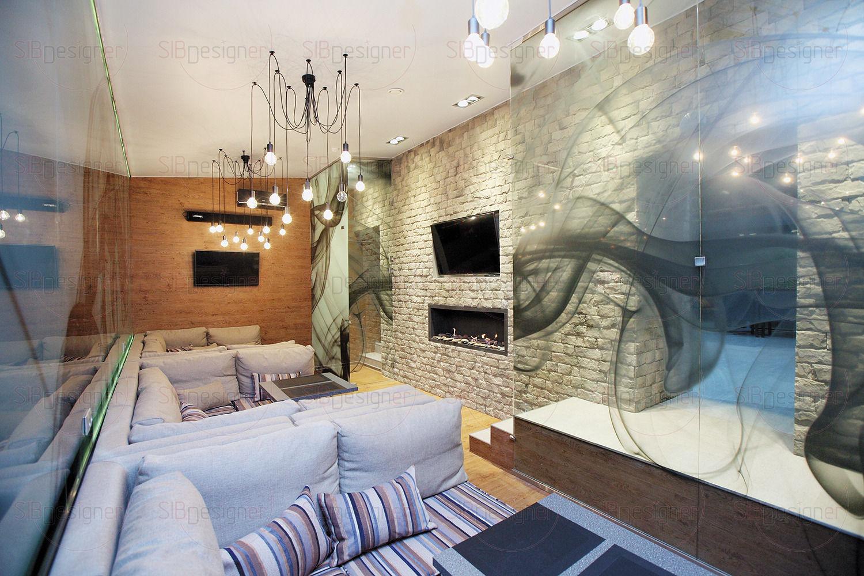 Зеркальная стена в кальянной комнате оформлена графическим рисунком, который напоминает очертания туманной дымки.